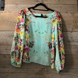 Windsor Tops - Windsor Sheer Mint Floral Blouse Size M